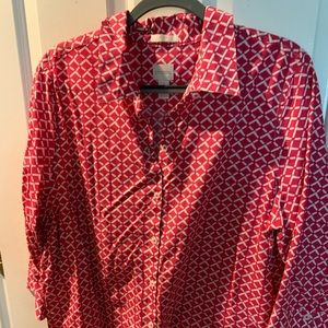 Chico's pink/white 3/4 sleeve blouse